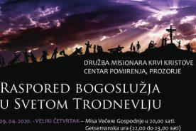 Raspored bogoslužja u svetom Trodnevlju